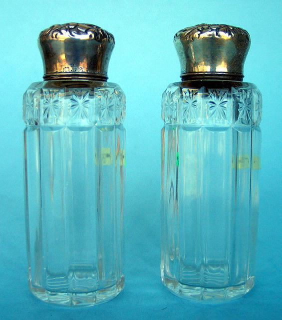 MATCHED PAIR OF CUT GLASS & GORHAM VICTORIAN STERLING PERFUME