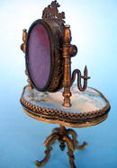 FRENCH ENAMEL DRESSING TABLE W/ LOCKET CANDLESTICK WOW