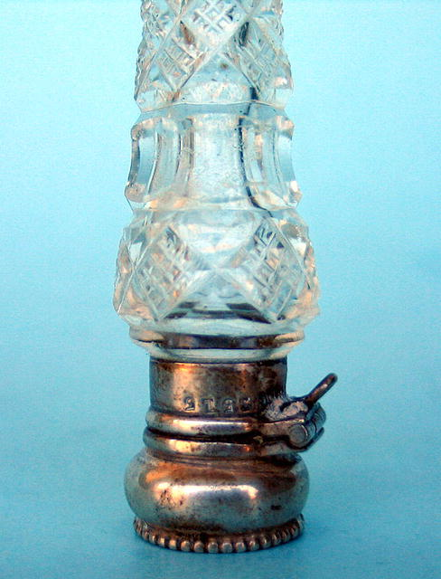 FINE CUT GLASS AND STERLING LAYDOWN SCENT PERFUME BOTTLE
