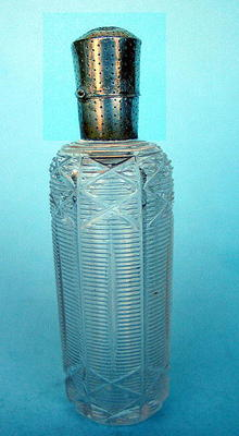 FINE CUT GLASS AND STERLING SCENT BOTTLE QUALITY WORK