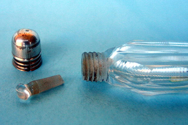 FINE CUT GLASS AND SILVER LAYDOWN PERFUME SCENT BOTTLE