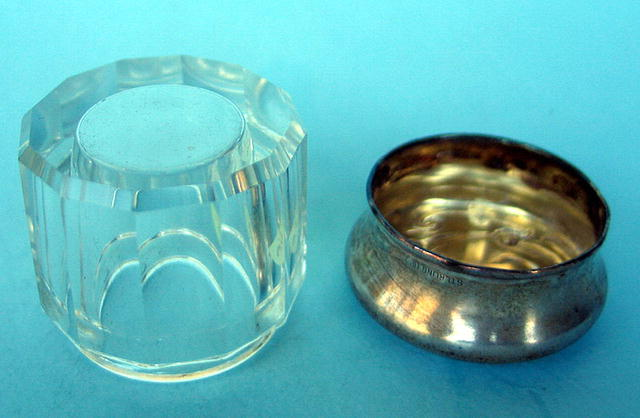 FINE VICTORIAN STERLING TOPPED GLASS POWDER JAR perfume scent