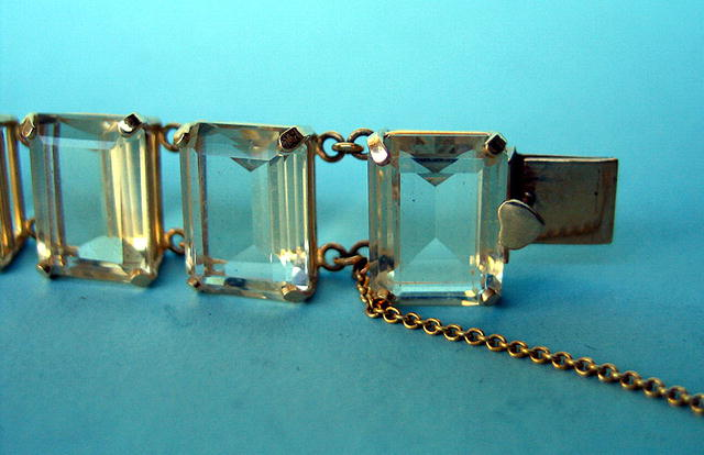 QUALITY HEAVY CITRINE 14K GOLD BRACELET W/SAFETY CATCH