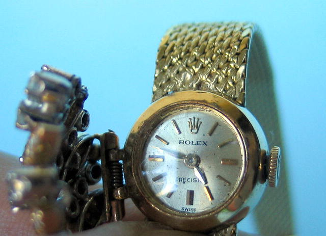 ROLEX LADIES PRECISION 30 DIAMOND 18K BRACELET WATCH