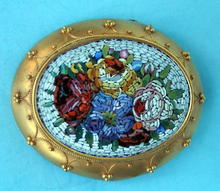 ETRUSCAN MICROMOSAIC BROOCH PIN 14K GOLD VICTORIAN NICE