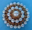 14K GOLD PIN / PENDANT BROOCH WITH 33 PEARLS BEAUTIFUL
