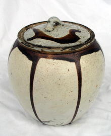 DO TAMBA POTTERY STONEWARE JAR & LID RARE WHITE