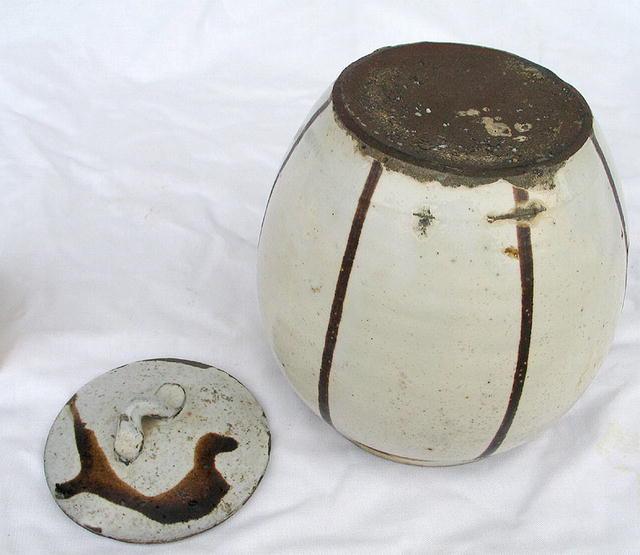 DO TAMBA POTTERY STONEWARE JAR & LID RARE WHITE
