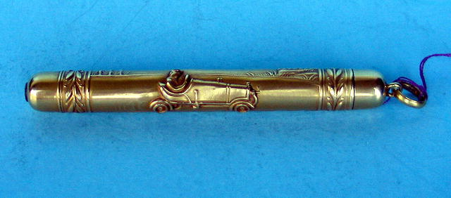 1900s RACING CAR PENCIL 10K GOLD RARE EARLY
