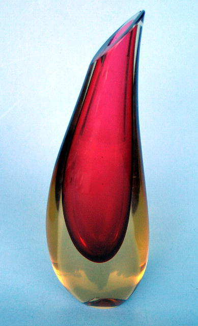 SIGNED GOLDEN AGE MURANO SALVIATI SOMMERSO VASE 2 COLOR