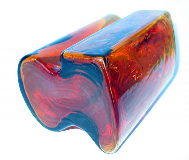 NICE 50s ART GLASS VASE BY HOLMEGAARD SWEDEN EAMES ERA