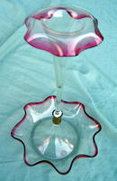 Victorian Cranberry Art Glass Epergne Cranberry single