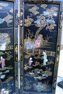 LARGE CHINESE SCREEN W/ JADE IVORY SERPENTINE CARVINGS