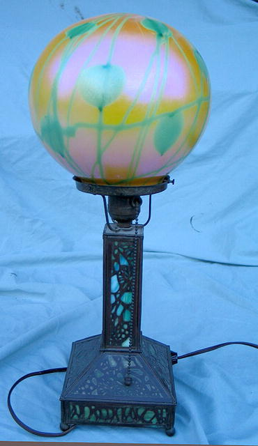 RIVIERE STUDIOS FILIGREE SLAG GLASS LAMP QUEZAL