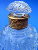 EARLY CUT GLASS INKWELL / PERFUME SCENT BOTTLE