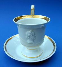 MEISSEN COFFEE CUP WILLIAM GLADSTONE DISRAELI