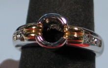 FINE DESIGNER SIGNED PLATINUM 18K GOLD DIAMOND RING
