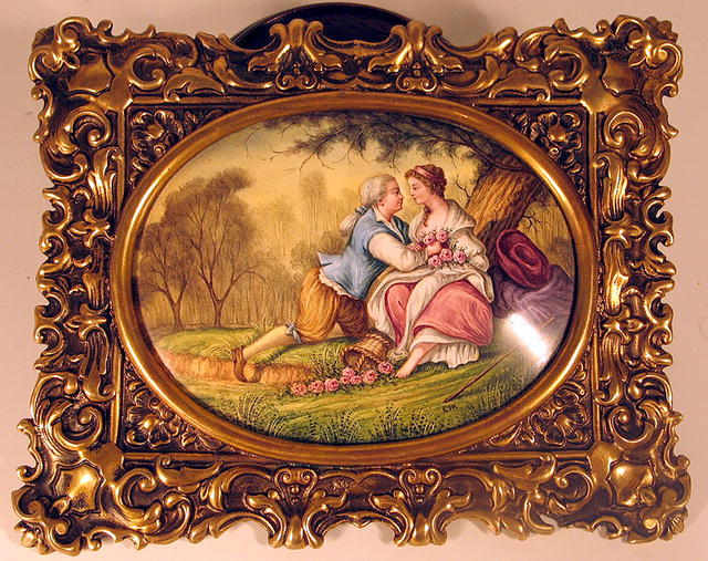 SIGNED VIENNESE ENAMEL COURTING COUPLE IN BRASS