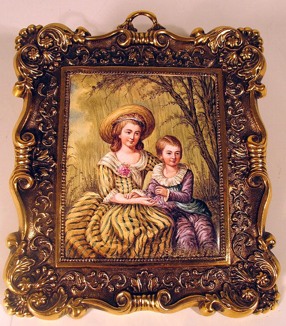 AUSTRIAN VIENNESE ENAMEL WOMAN & CHILD IN BRASS