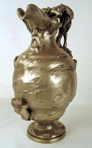 STUNNING SILVERED BRONZE ART NOUVEAU JUG WOMEN FISH