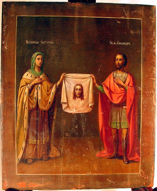 ICON MANDYLION OF EDESSA CLOTH OF VERONICA RUSSIAN 18c