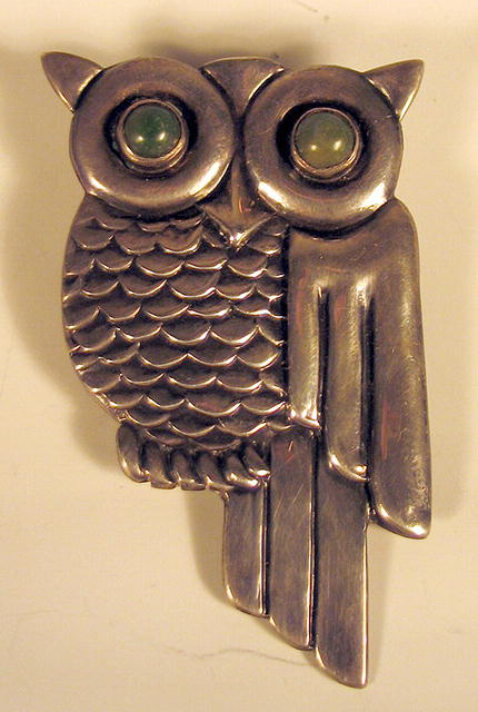 EARLY MEXICAN STERLING SILVER DECO OWL TAXCO MEXICO