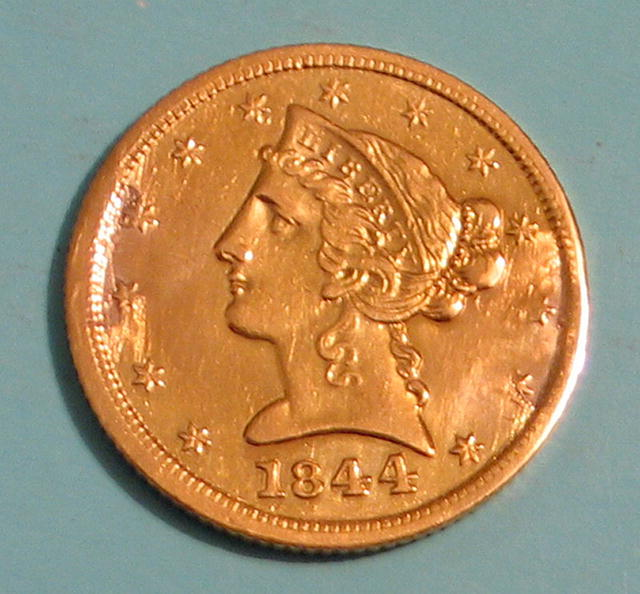 HALF EAGLE $5 GOLD PIECE 1844 D AU-55 DAHLONEGA GEORGIA