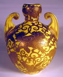 DERBY ENGLISH VASE WITH YELLOW GROUND GILT FOO DOGS