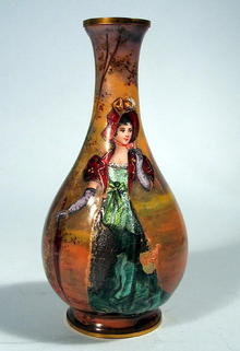 FINE FRENCH ENAMEL VASE WITH WOMAN BALUSTER FORM