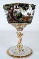 INTERESTING STERLING OVERLAY ENAMEL BOHEMIAN COMPOTE