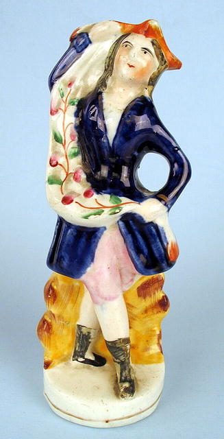 ENGLISH VICTORIAN STAFFORDSHIRE FLATBACK FIGURE OF MAN