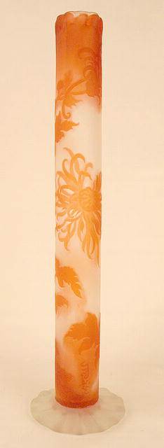 LARGE EARLY GALLE CAMEO GLASS VASE RUFFLED TOP FLORAL