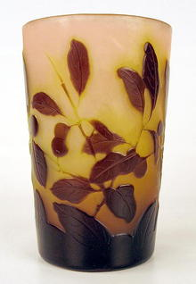 VERY RARE GALLE CAMEO GLASS TUMBLER W/UNUSUAL MONOGRAM