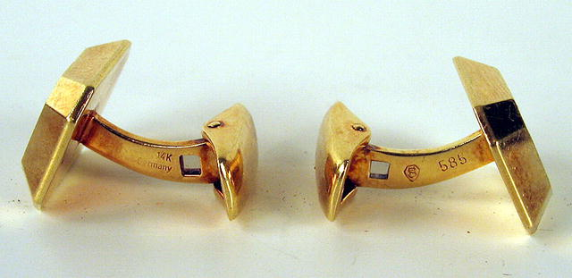 ELEGANT 14K 1 CARAT DIAMONDS CUFFLINKS GERMANY 1920s