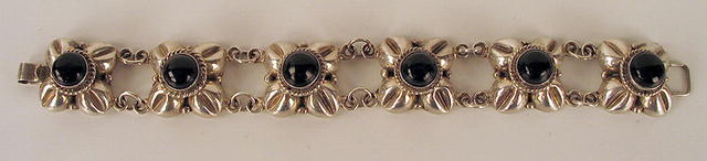 MEXICAN STERLING SILVER BRACELET ONYX EARLY