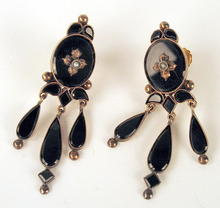 OUTSTANDING VICTORIAN 14K GOLD EARRINGS ONYX DANGLES