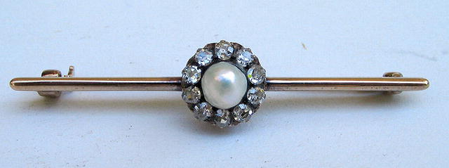 QUALITY 14K GOLD PEARL 10 DIAMONDS PIN BROOCH .5+ CARAT