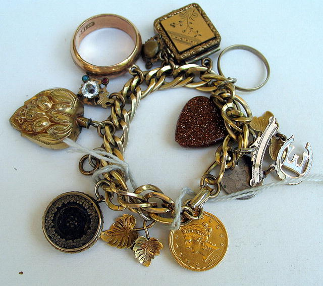 VICTORIAN CHARM BRACELET 14K $2.5 GOLD PIECE 3c PIECES