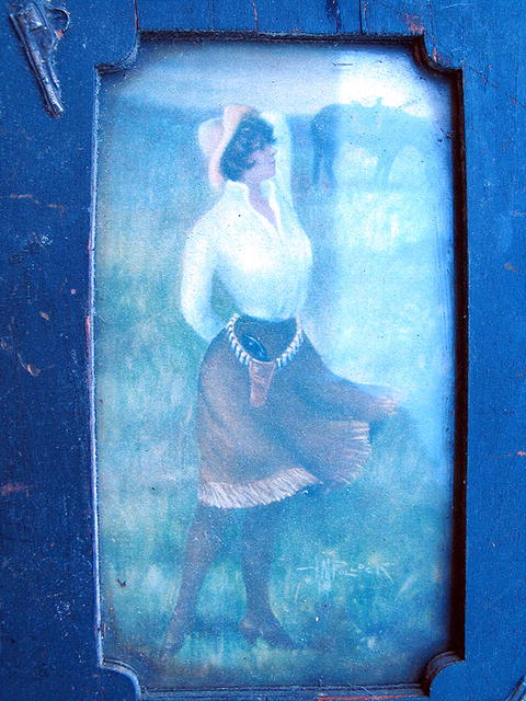 ANNIE OAKLEY SOUVENIR FRAME AND PRINT FOLK ART FRAME