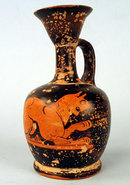 QUALITY ANCIENT GREEK ATTIC EWER RED BLACK LION NICE