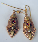FANTASTIC VICTORIAN EARRINGS WITH RUBY PEARL 14K GOLD