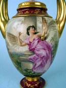 FINE ROYAL VIENNA VASE W LID ANGEL & CUPID CHERUB HANDPAINTED