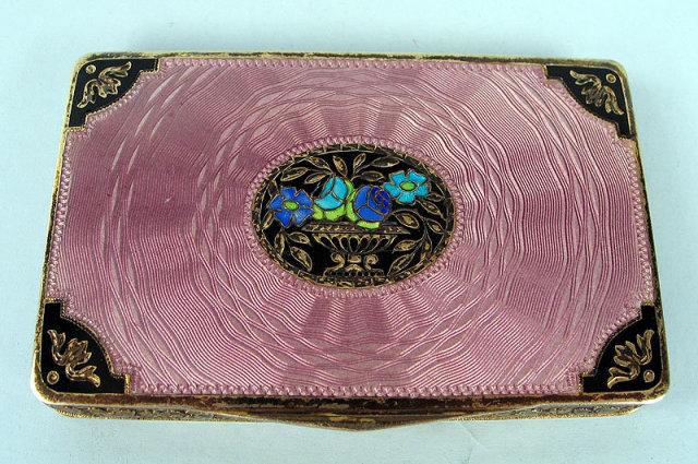 QUALITY ENAMEL STERLING SILVER AUSTRIAN ART DECO SNUFF BOX