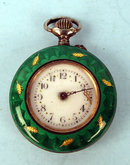 FABULOUS ENAMEL AND SILVER SWISS LADIES POCKET WATCH