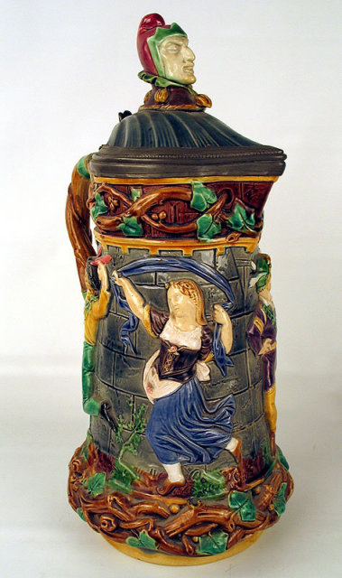 MINTON PITCHER JUG JESTERS HEAD DANCING FIGURES VINES RARE