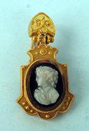 Fine Victorian 14K Hardstone cameo earrings Etruscan style settings