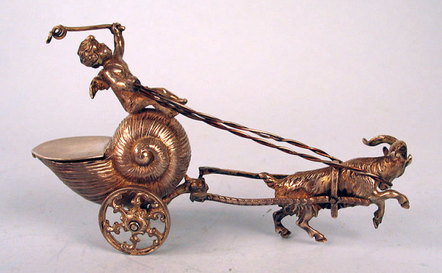 AMAZING STERLING SILVER CHERUB RIDING IN SNAIL CART PULLED BY GOAT SALT DIP