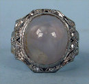 STUNNING EDWARDIAN PLATINUM NATURAL STAR SAPPHIRE RING 20 DIAMONDS