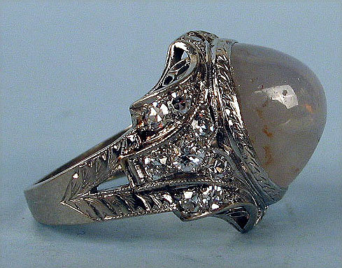 STUNNING EDWARDIAN PLATINUM NATURAL STAR SAPPHIRE RING 20 DIAMONDS