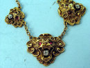 GREAT VICTORIAN 14K GOLD NECKLACE LIONS HEADS, RUBIES, DIAMONDS
